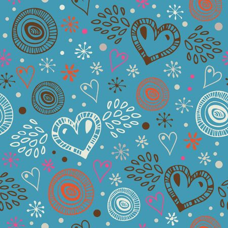 Blue abstract decorative seamless background with hearts. Endless doodle pattern. Ornate drawn texture  Stock Vector - 16552153