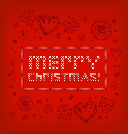 Merry Christmas banner. Red knitted pattern with hearts and snowflakes. Xmas stylish card  Vector