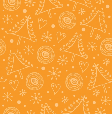 Christmas orange seamless background. Endless holiday cute pattern. Decorative xmas texture with snowflakes and spruces  Stock Vector - 16552120