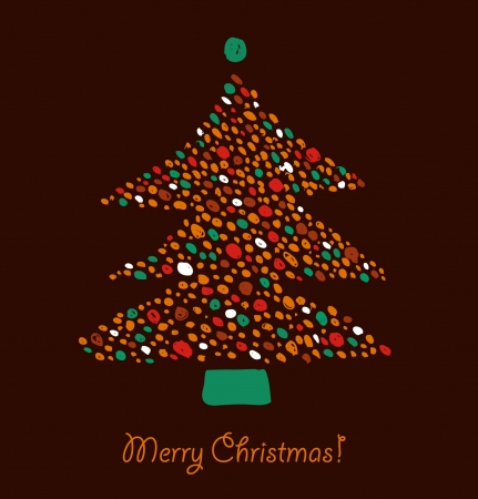 xmas decoration: Christmas tree made of dots  Element for Xmas design  Retro cute card template
