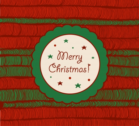 netting: Christmas card with netting hand-drawn texture  Vintage element for xmas design  Circle frame with text  Rosette  Illustration