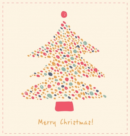Decorative Christmas tree made of dots  Ornate element for Xmas design  Hand drawn cute card template Stock Vector - 16552111