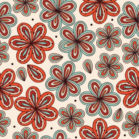 Floral bright ornamental seamless pattern  Decoratove flowers background  Endless ornate texture for prints, crafts, wallpapers  Abstract doodle template  Vector
