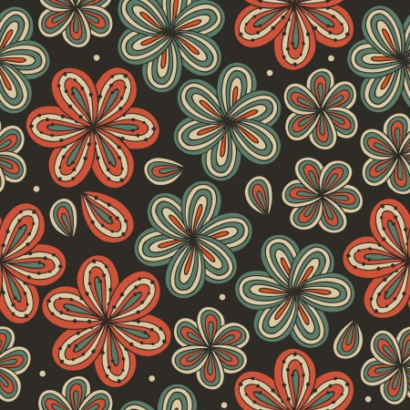 craft ornament: Floral ornamental seamless pattern  Decorative flowers on dark background  Endless ornate texture for prints, crafts, textile  Abstract beatifully template Illustration