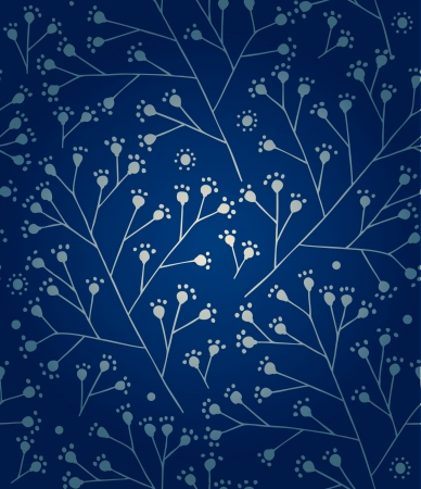 Floral winter pattern  Ice ornament  Branches seamless background  Vector