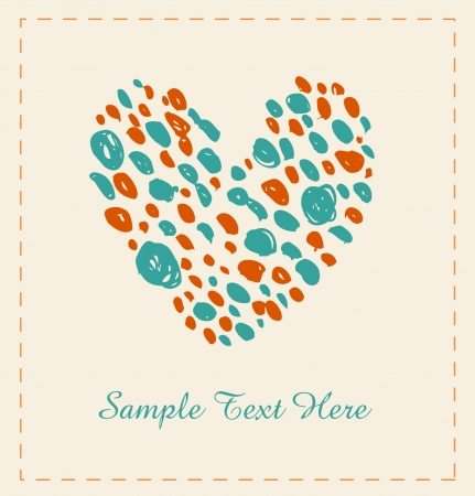 Hand drawn sketchy heart with dots  Design elements for scrapbooking, gifts, arts, crafts, prints  Cartoon love background  Stock Vector - 16552104