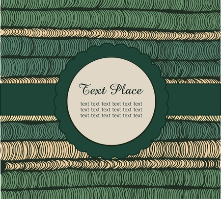 netting: Lace green card on netting hand-drawn texture  Vintage element for design  Circle frame with text  Rosette