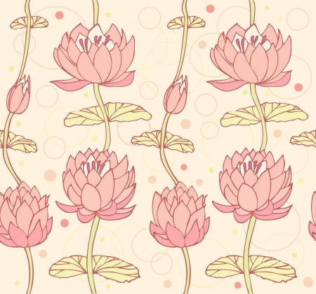 Lotus background  Floral pattern with water lilies  Seamless lace backdrop can be used for crafts, arts, wallpapers, web pages, surface texture, prints, textile  Stock Illustratie