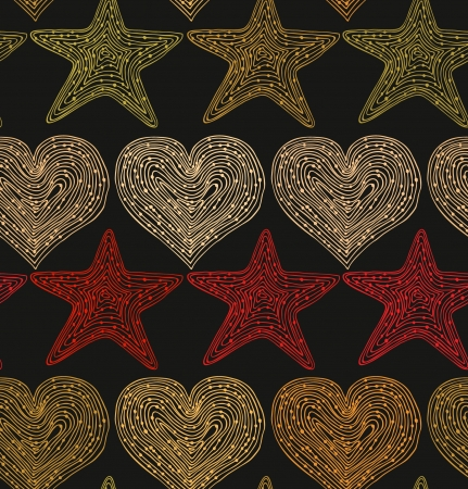 Retro holiday seamless background with hearts and stars  Hand drawn linear texture  Design template for wallpapers, textile, prints, crafts Illustration