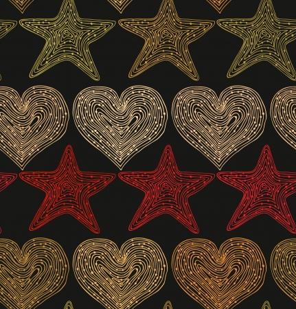 Retro vakantie naadloze achtergrond met harten en sterren Hand getrokken lineaire textuur ontwerp sjabloon voor wallpapers, textiel, prenten, ambachten