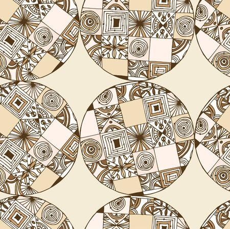 Round brown endless pattern  Native ethnic circle background  Mandala  Can use for greeting cards, gifts, arts Stock Vector - 16552172