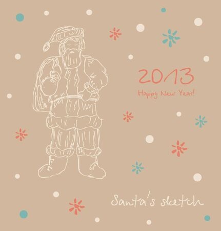 Santa sketch  Happy new year card  Xmas elements for design  Christmas decoration  Vector