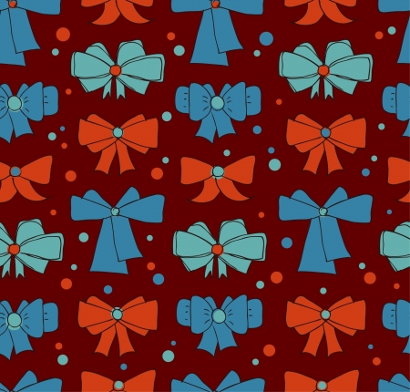 Seamless background with bows  Endless doodle pattern for textile, web pages backgrounds, clothes  Holiday backdrop Vector
