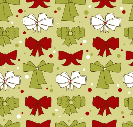 Seamless Christmas background with bows. Endless cute xmas pattern for textile, crafts, prints. Holiday backdrop  Illustration
