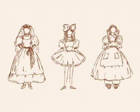 mode: Set with sketches of little girls in retro clothes. Hand drawn collection of babies silhouettes  Illustration