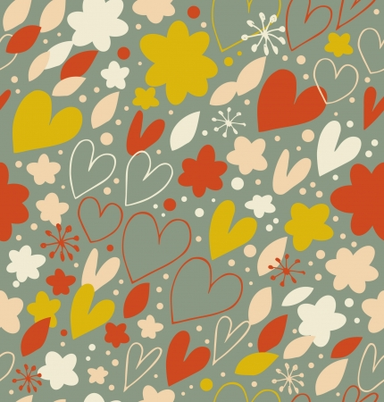 Abstract seamless pattern with many cute details. Decorative doodle background with hearts and flowers. Hand drawn damask texture for wallpapers, crafts, prints, textile  Vector