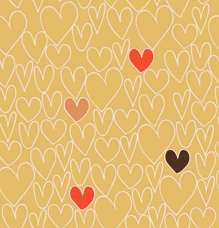 Endless abstract liefde patroon. Doodle cartoon achtergrond met de hand getekende harten. Textiel textuur Stock Illustratie