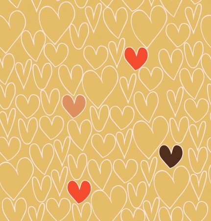 Endless abstract love pattern. Doodle cartoon backdrop with hand drawn hearts. Textile texture