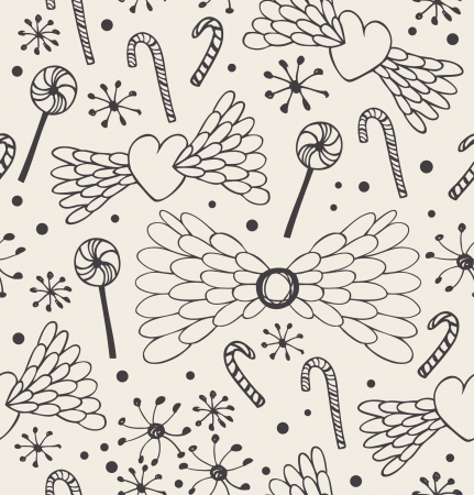 Seamless abstract pattern. Cute doodle background with hearts, angel wings, lollipops, sugarplums and snowflakes. Endless craft linear texture  Vector