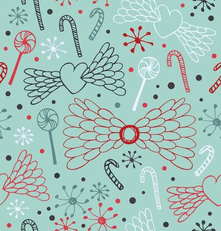 Seamless decorative pattern. Cute lace background with hearts, angel wings, lollipops, sugarplums and snowflakes. Endless craft drawn texture Vector
