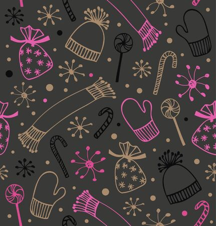 Seamless holiday Christmas pattern. Cute winter background with caps, scarfs, mittens and lollipops, sugarplums. Endless craft texture Vector