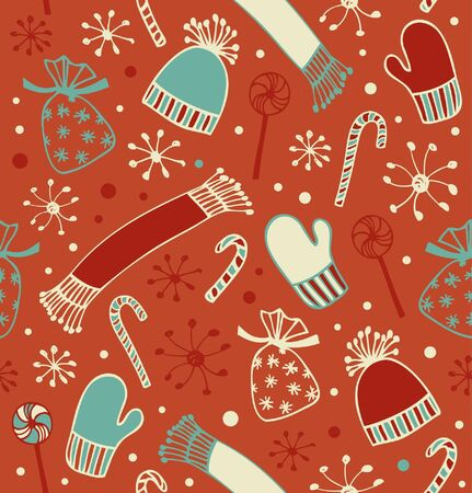 sugarplum: Seamless holiday Christmas pattern. Doodle lace backdrop with caps, scarfs, mittens and lollipops, sugarplums. Endless craft texture