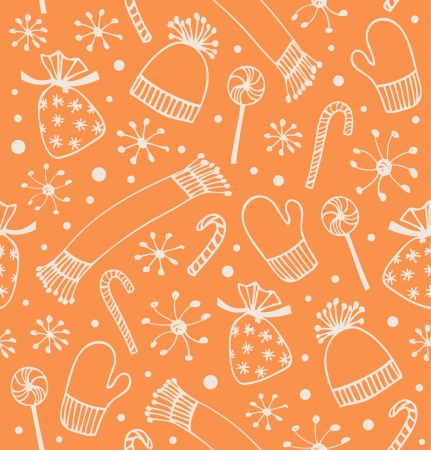 new year's cap: Seamless holiday Christmas pattern. Orange decorative backdrop with caps, scarfs, mittens and lollipops, sugarplums. Cartoon design for craft papers, textile, web pages, prints