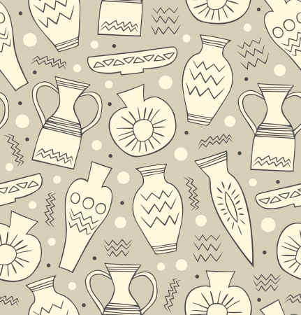 Ceramic seamless pattern. Ethnic national Greek style background. China. Endless texture with hand drawn tableware  Vector