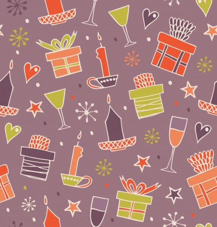 Christmas seamless pattern with gifts, candles, goblets. Endless decorative romantic background with boxes of presents. Hand drawn holiday texture for craft papers, prints, wallpapers Stock Vector - 16799147