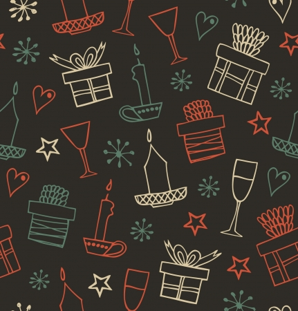 Christmas seamless pattern with gifts, candles, goblets. Endless ornate background with boxes of presents. Hand drawn beautiful holiday texture for crafts, prints, wallpapers  Stock Vector - 16799136