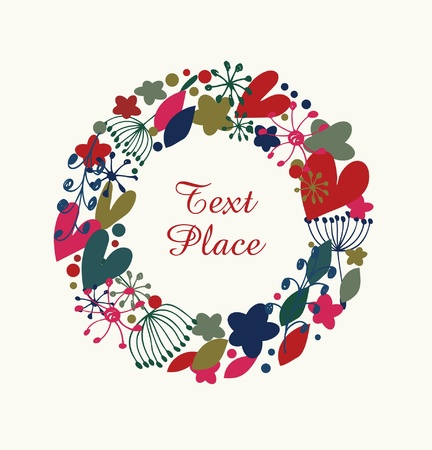 Decorative flourish round garland  Ornate wreath with hearts, flowers and snowflakes  Design holiday element with many cute details  Vector
