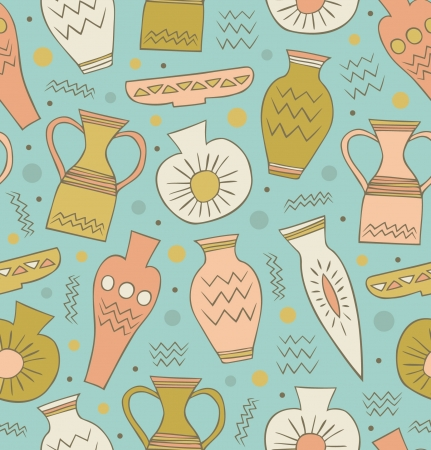archaeological: Old ceramic seamless pattern  Ethnic antique Greek style background  China  Endless texture with hand drawn tableware  Illustration