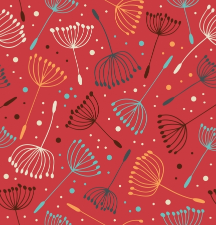 fluff: Red ornate endless pattern  Seamless gorgeous texture with flowers  Background with fluff