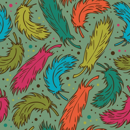 Seamless colorful background with plumes. Decorative doodle pattern with feathers  Vector