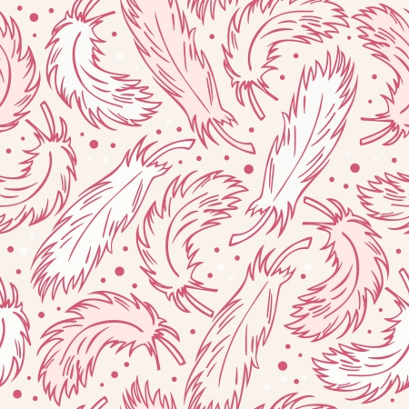 Seamless vintage background with plumes. Decorative abstract pattern with hand drawn feathers Illustration