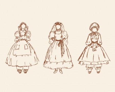 babes: Set with sketches of little girls in retro clothes  Hand drawn vintage collection of babes silhouettes  Illustration