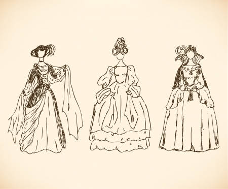 historical romance: Set with sketches of women in retro clothes. Ladies in historical ball dresses. Hand drawn collection of women silhouettes