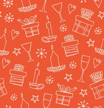 Christmas seamless pattern with gifts, candles, goblets. Endless doodle background with boxes of presents. Hand drawn decorative holiday cartoon design for craft papers, prints, wallpapers  Vector