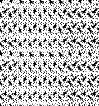 linear art: Black and white abstract pattern  Contour seamless background with rows of leafs  Can be used for wallpapers, web pages, cards, arts, surface texture, clothes ornaments, crafts Illustration