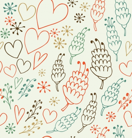 Decorative seamless patten with flowers and hearts. Endless cute background for prints, textile, scrapbooking Vector