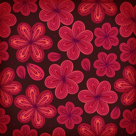Floral ornamental seamless patern. Decoratove flowers background. Endless ornate texture for prints, crafts, textile. Deep red tracery