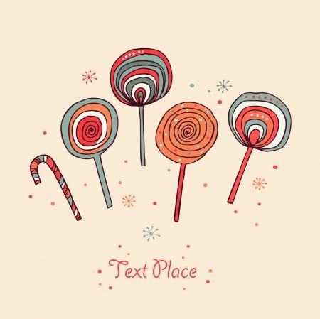 Lollipops. Sugarplums.Differents fruit daalt. Sugar Candes. Zoete banner Stock Illustratie