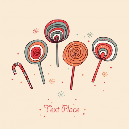 Lollipops. Sugarplums.Differents fruit drops. Sugar candes. Sweet banner Stock Vector - 16926786