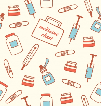 nurse clipboard: Seamless medical pattern. Hospital instrument. Healthy. Pharmacy. Drugstore background with medicine chest, tablet, pill, plaster, thermometer, mixture. Medication