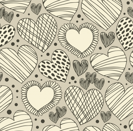 Seamless ornamental pattern with hearts. Endless hand drawn cute background. Ornate texture with many details Vector