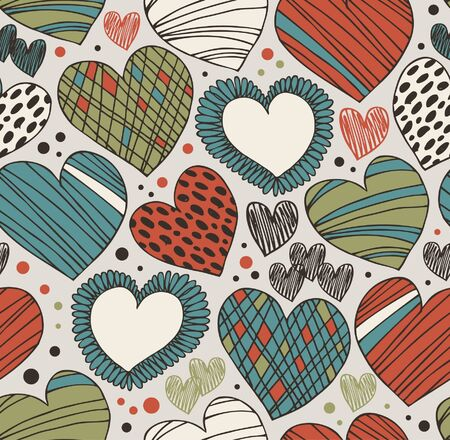 Seamless ornate pattern with hearts. Endless hand drawn cute background. Craft texture with many details Vector