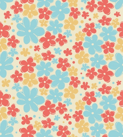 Seamless retro texture with flowers. Endless floral pattern. Seamless vintage background can be used for wallpaper, pattern fills, web page background, surface textures Vector