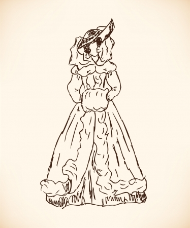 dress coat: Sketch of  woman in retro winter clothes. Lady in vintage dress and veil. Hand drawn modern woman silhouette