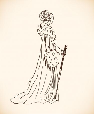 rijke vrouw: Schets van een rijke vrouw in retro kleding. Dame in vintage jurk. Hand getrokken moderne vrouw silhouet Stock Illustratie