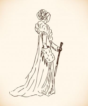 woman in fur coat: Sketch of rich woman in retro clothes. Lady in vintage dress. Hand drawn modern woman silhouette